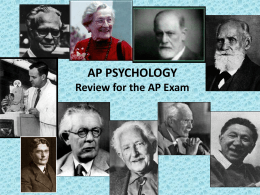 AP PSYCHOLOGY Review for the AP Exam Chapter 5-