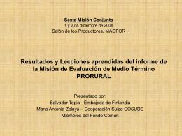 Resultados y Lecciones aprendidas del informe de la …