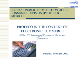 FTAA.ecom/inf/119 February 13, 2002 / PROFECO in the