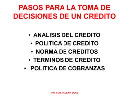 PASOS PARA LA TOMA DE DECISIONES DE UN CREDITO