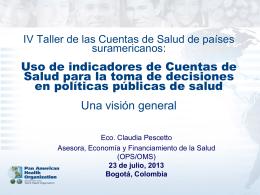 IV Taller de las Cuentas de Salud de paises suramericanos