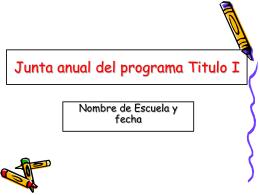 Junta anual del programa Titulo I