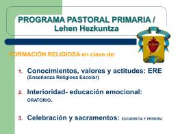 PROGRAMA PASTORAL PRIMARIA / Lehen Hezkuntza