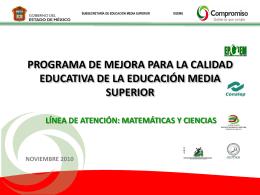 PROGRAMA DE MEJORA PARA LA CALIDAD EDUCATIVA …