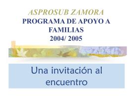 ASPROSUB ZAMORA PROGRAMA DE APOYO A FAMILIAS