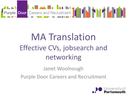 MA TranslationEffective CVs, jobsearch and networking