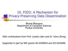 Privacy and Trust - data dissemination