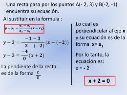 Una recta pasa por los puntos A(- 2, 3) y B(-2,