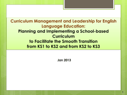 Curriculum Management and Leadership for English …
