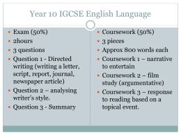 Year 10 IGCSE English Language