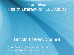 Health Literacy Training for Adult English Language Learners