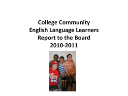 College Community English Language Learners 2010-2011