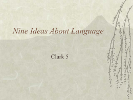 Nine Ideas About Language