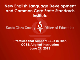New English Language Development and Common Core …