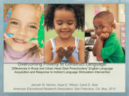 Overcoming Poverty to Construct Language: Differences …