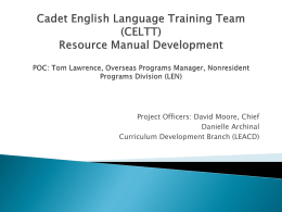 Cadet English Language Training Team (CELTT) Materials
