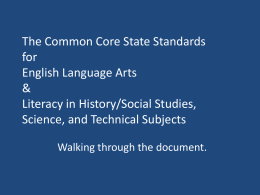 The Common Core State Standards for English Language …