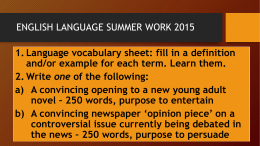 ENGLISH LANGUAGE SUMMER WORK 2014