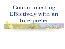 Role of Interpreter