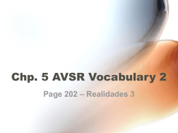 Chp. 5 AVSR Vocabulary 2
