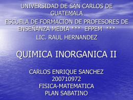 QUIMICA INORGANICA II