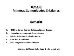 Tema 1: Primeras Comunidades Cristianas Sumario