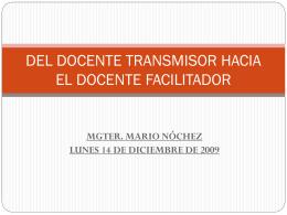 DEL DOCENTE TRANSMISOR HACIA EL DOCENTE …