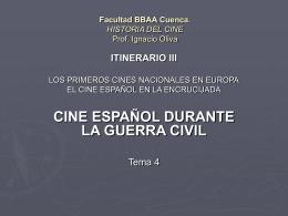 Facultad BBAA Cuenca. HISTORIA DEL CINE Prof. Ignacio …