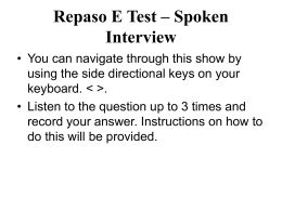 Repaso E Test – Spoken Interview