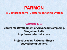 PARMON Cluster Monitoring System