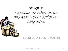 TEMA: 2 ANALISIS DE PUESTOS DE TRABAJO Y …