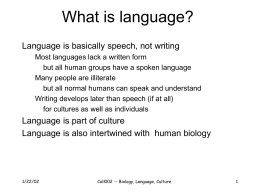 College 002 -- Biology, language and culture -