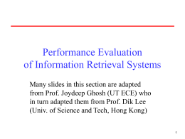 Intelligent Information Retrieval and Web Search