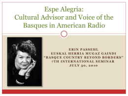 Espe Alegria: Cultural Advisor and Voice of the Basques …