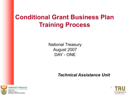 Conditional Grant business plan training process