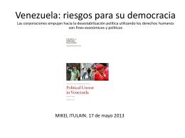 Venezuela: riesgos para su democracia