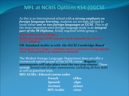 MFL at NCBIS Options KS4:(I)GCSE