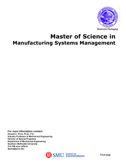 Master of Science Degree in Electronic Packaging An