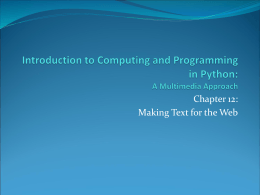 Introduction to Computing and Programming in Python: …