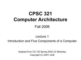 CPSC 321 Computer Architecture