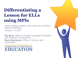 Differentiating a Lesson for ELLs using MPIs
