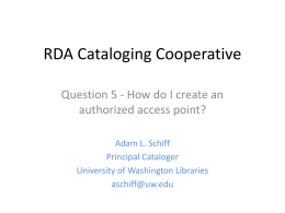 RDA Cataloging Cooperative