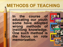 METHODS OF TEACHING - Caribbean Union Conference
