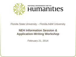 NEH Programs: - Florida State University