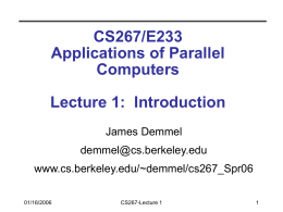 CS267: Introduction
