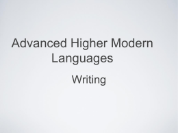 Advanced Higher Modern Languages