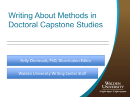 Writing about Methods in Dissertations and Doctoral