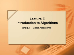 Lecture E Introduction to Algorithms
