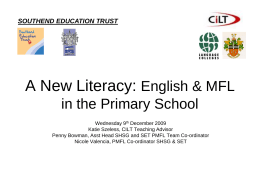KS2 MFL Framework - Southend High School for Girls