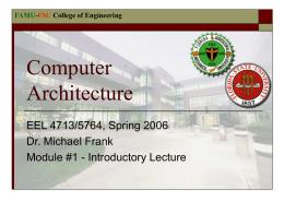 Computer Architecture - FAMU